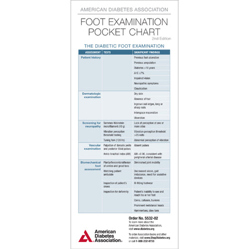 American Diabetes Association Foot Examination Pocket Chart, 2nd Edition