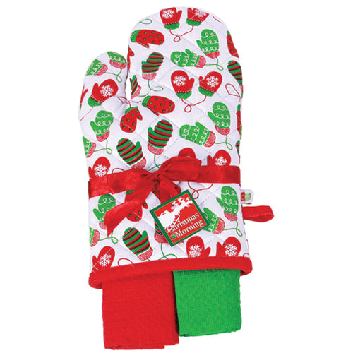 Gift of Hope: Merry Oven Mitt Hostess Set, White