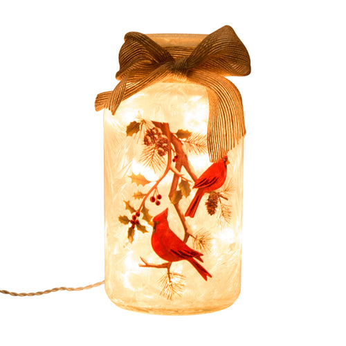 Gift of Hope: Illuminated Cardinal Mason Jar