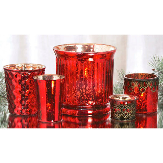 Gift of Hope: Festive Antique Glass Votive Set