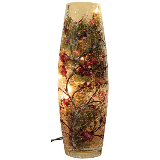 Gift of Hope: Illuminated Holly Crackle Vase