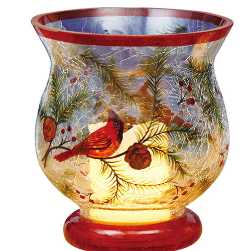 Gift of Hope: Crackle Cardinal Hurricane Candleholder