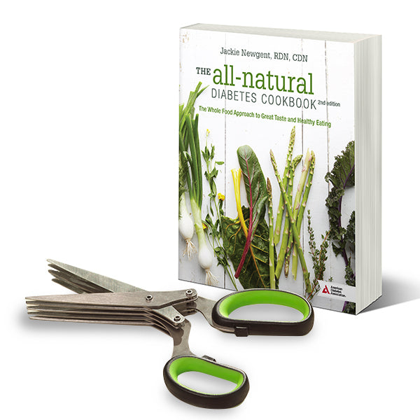 SET: All-Natural Diabetes Cookbook, 2nd Edition with Herb Scissors