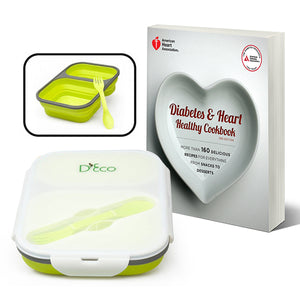 SET: Diabetes and Heart Healthy Cookbook with Collapsible Lunch Box