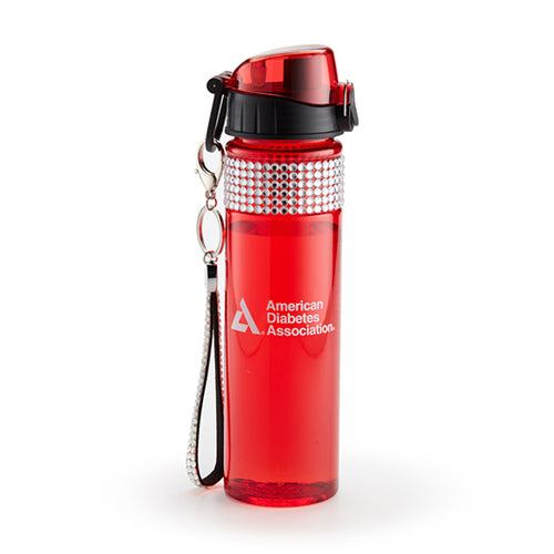 Bling Water Bottle with Rhinestone Key FOB