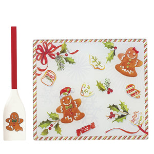 Gingerbread Glass Prep Board with Spatula