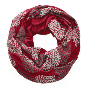 Gray Flowers on Ruby Infinity Scarf