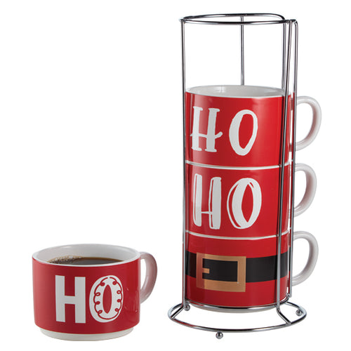 Jolly Santa HOHOHO Stacking Mugs