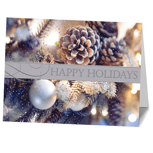 Winter Pine Cone Cluster Cards (20/Box)