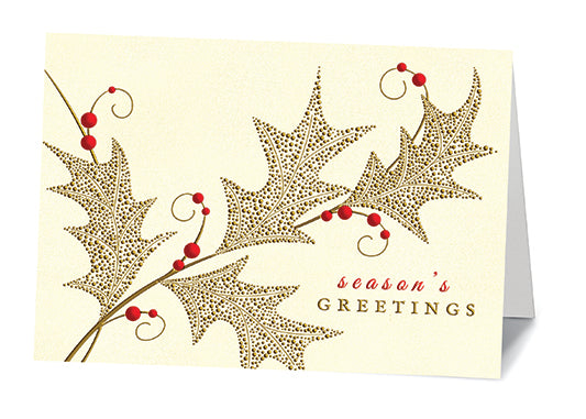 Gold Holly Leaves Cards (20/Box)