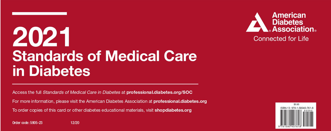 2021 Standards of Medical Care in Diabetes Pocket Chart