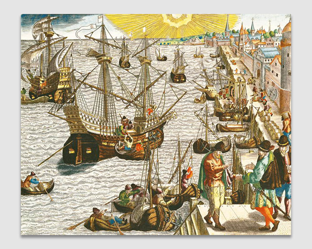 Departure from Lisbon for Brazil, the East Indies and America - Theodore de Bry