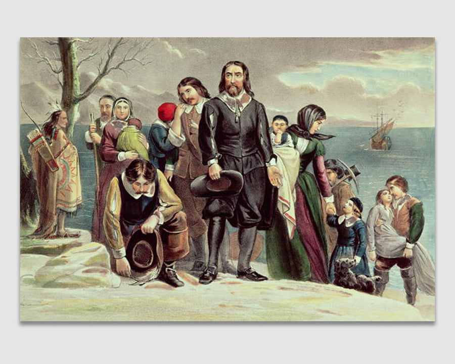 The Landing of the Pilgrims at Plymouth - Currier & Ives