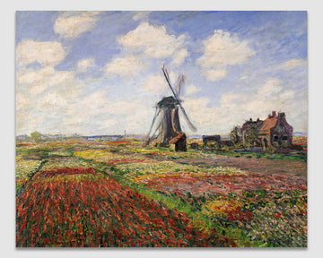 Tulip Fields with the Rijnsburg Windmill - Claude Monet