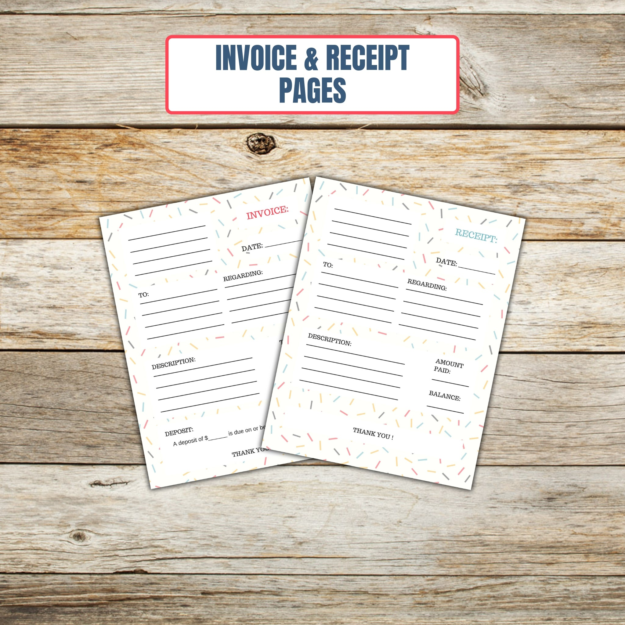 Ultimate Cake Project Printable Planner Geometric Design invoice and receipt page