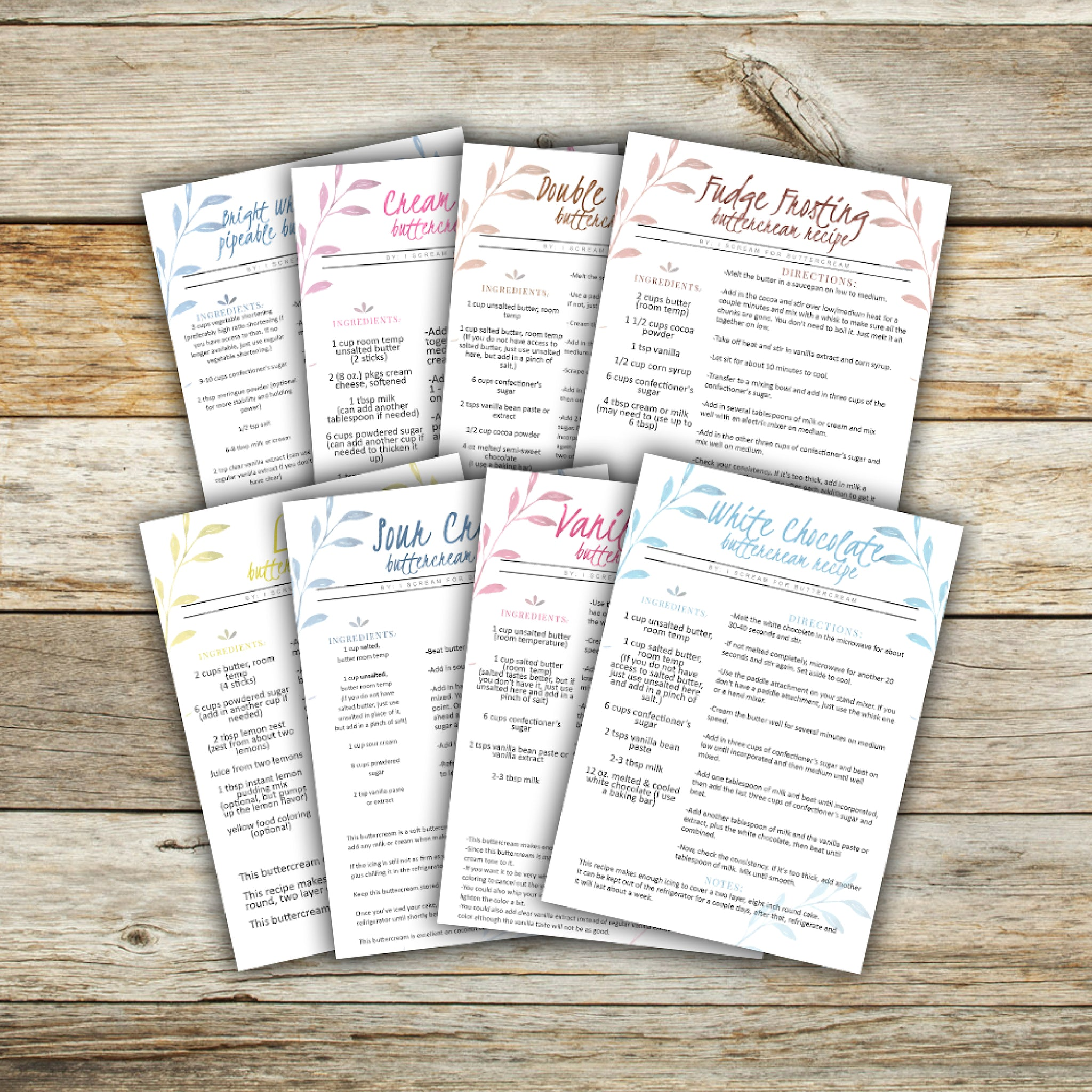 Making Buttercream FAQ E-Book recipe cards