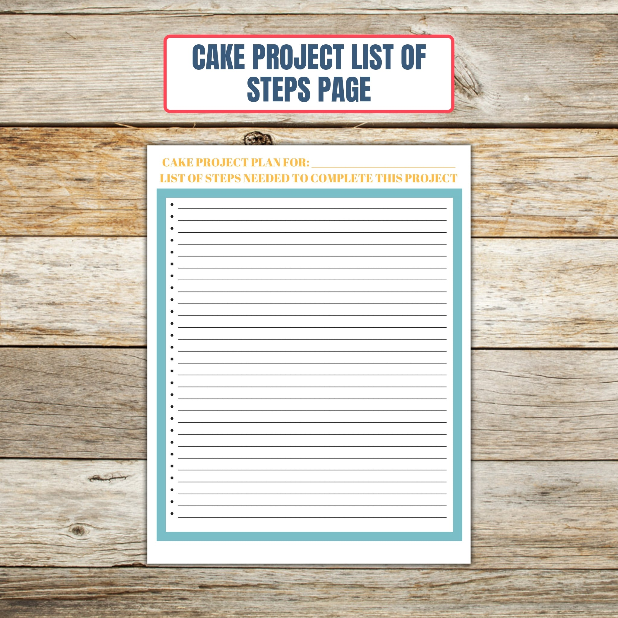 Ultimate Cake Project Printable Planner Geometric Design list of steps page