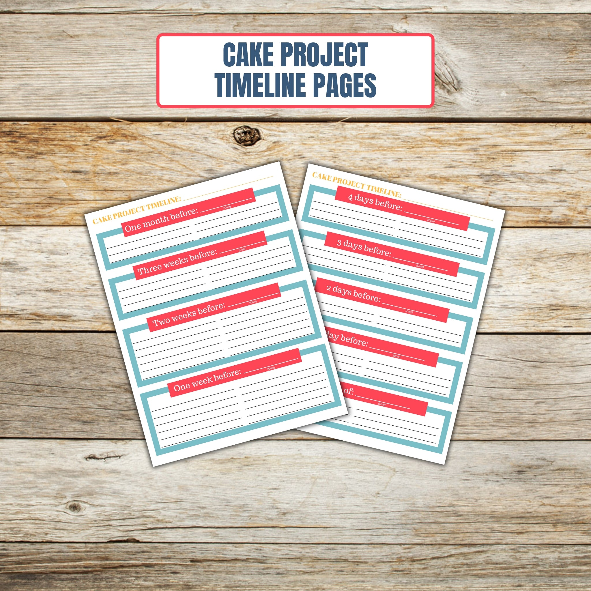 Ultimate Cake Project Printable Planner Geometric Design timeline page