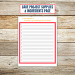 Ultimate Cake Project Printable Planner Geometric Design supplies page