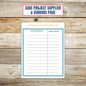 Ultimate Cake Project Printable Planner Geometric Design vendors page