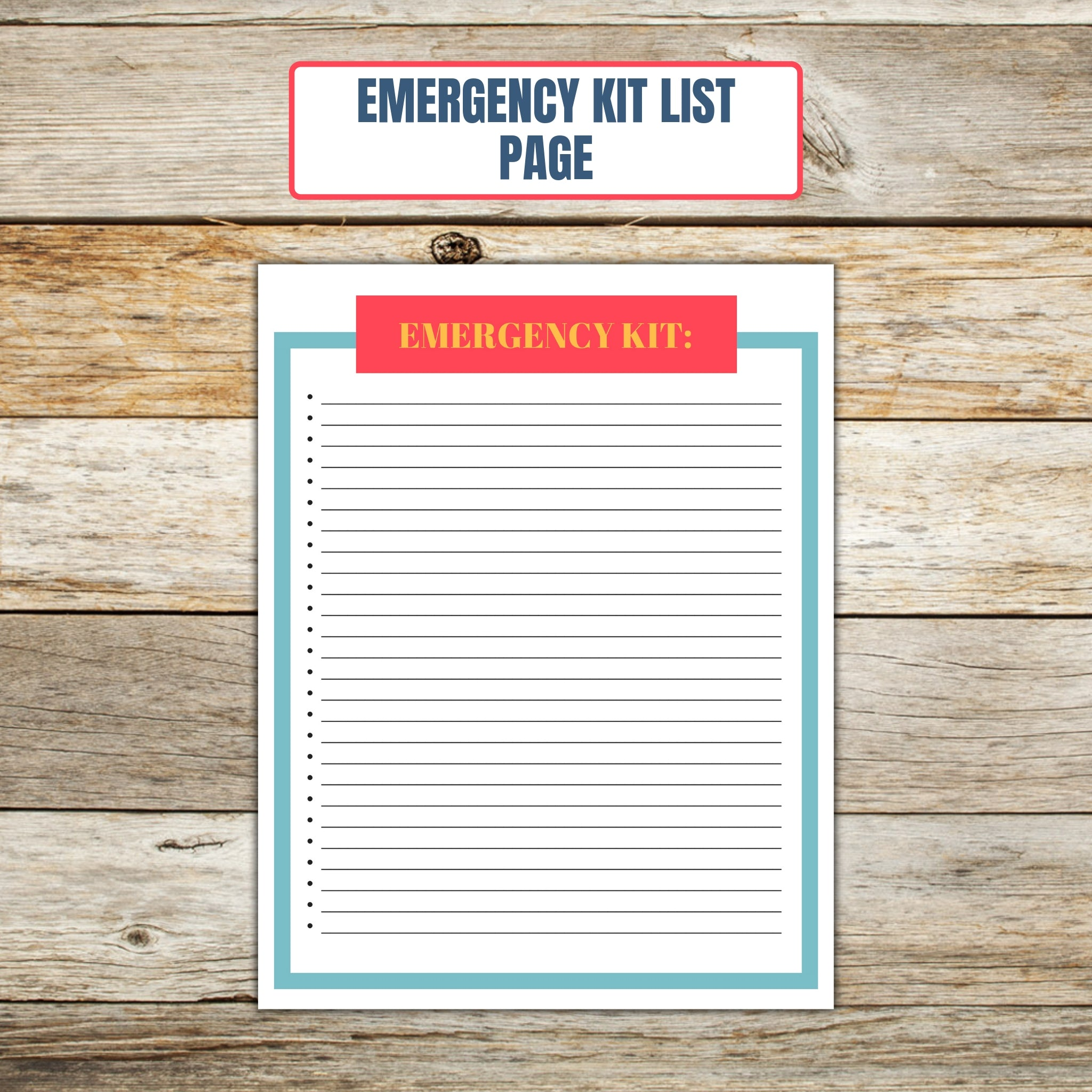 Ultimate Cake Project Printable Planner Geometric Design emergency list page