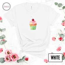 Load image into Gallery viewer, cute cupcake on a white shirt mockup with flowers