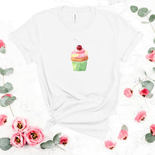 Load image into Gallery viewer, cute cupcake on a white shirt mockup with flowers 2