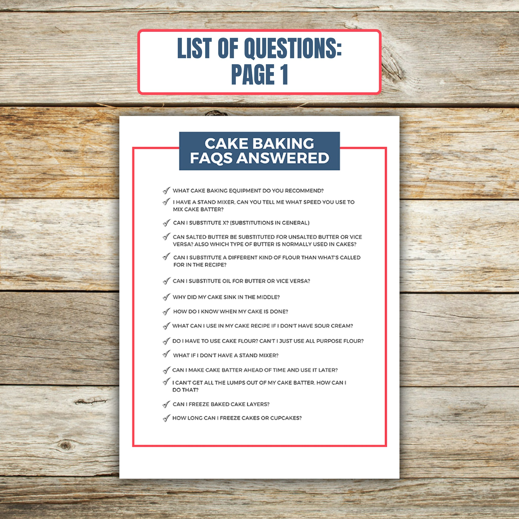 List of Questions for Cake Baking FAQ Book 1