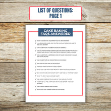 Load image into Gallery viewer, List of Questions for Cake Baking FAQ Book 1