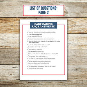 List of Questions for Cake Baking FAQ Book 2