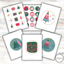 Load image into Gallery viewer, colorful christmas cake and cupcake topper set