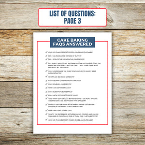 List of Questions for Cake Baking FAQ Book 3