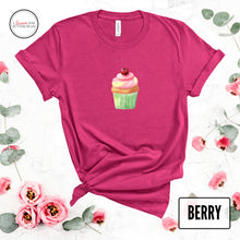 Load image into Gallery viewer, cute cupcake on a berry shirt mockup with flowers