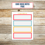 Ultimate Cake Project Printable Planner Geometric Design notes page