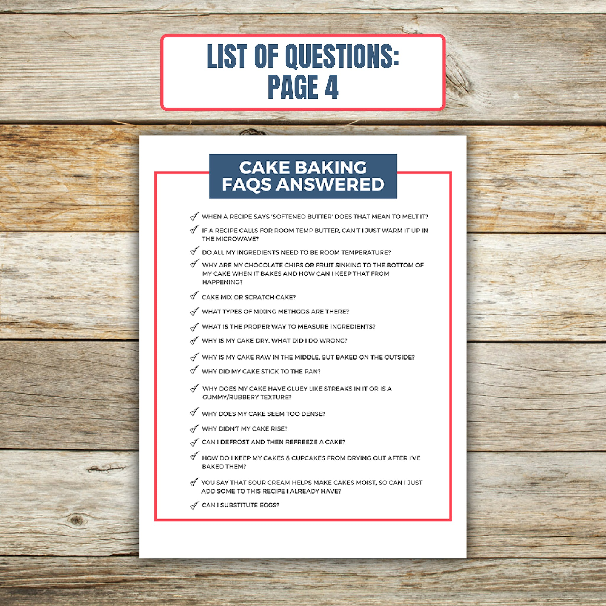 List of Questions for Cake Baking FAQ Book 4