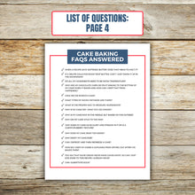 Load image into Gallery viewer, List of Questions for Cake Baking FAQ Book 4