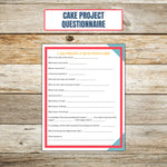 Ultimate Cake Project Printable Planner Geometric Design cake questions page