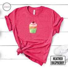 Load image into Gallery viewer, cute cupcake on a raspberry shirt mockup with flowers