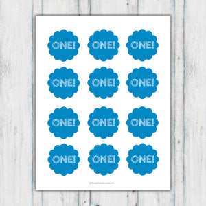 Blue ONE Cupcake Topper Printable
