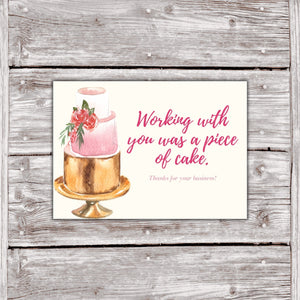 Cake Business Thank You Cards Watercolor Cake Design 2