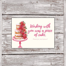 Load image into Gallery viewer, Cake Business Thank You Cards Watercolor Cake Design 3