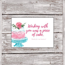 Load image into Gallery viewer, Cake Business Thank You Cards Watercolor Cake Design 7