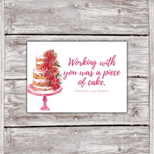 Load image into Gallery viewer, Cake Business Thank You Cards Watercolor Cake Design 9