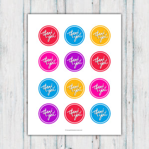 Colorful Thank You Cupcake Toppers Printable