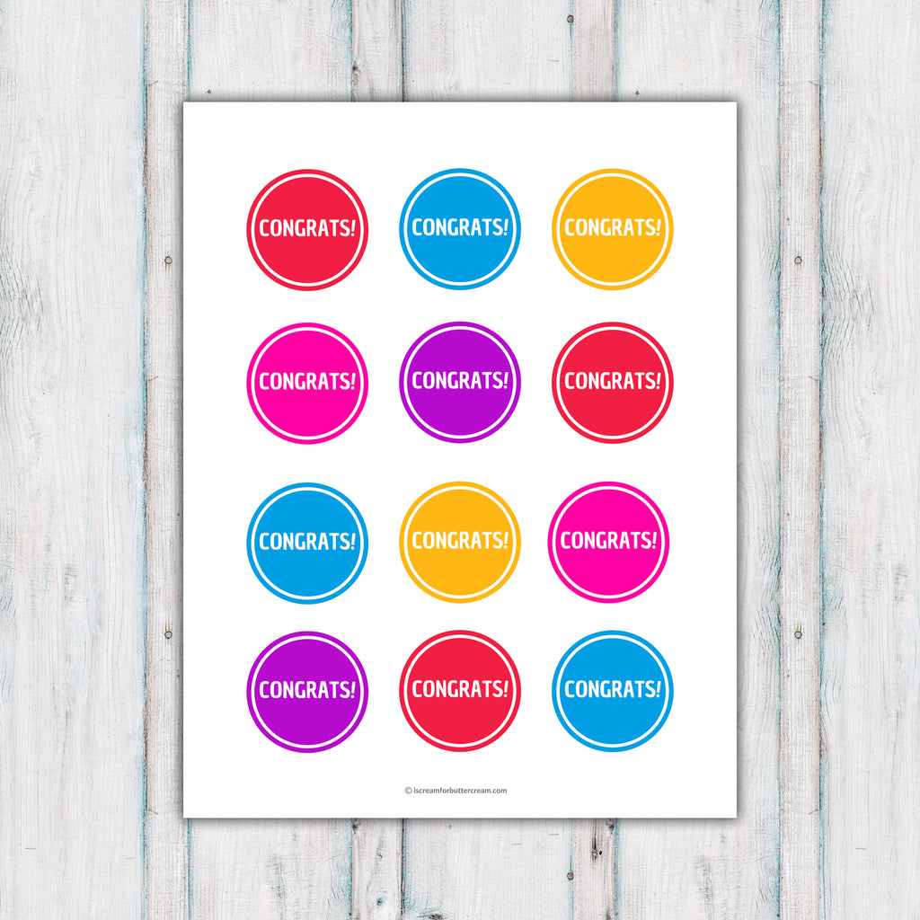 Colorful 'Congrats' Cupcake Toppers Printable - FREE