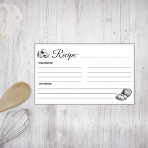 Printable Recipe Cards Black and White Illustrated design 2