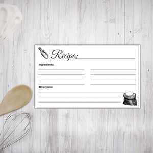Printable Recipe Cards Black and White Illustrated design 3