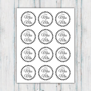 From Miss to Mrs Cupcake Topper Printables