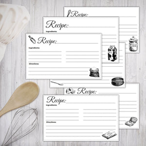 Printable Recipe Cards Black and White Illustrated