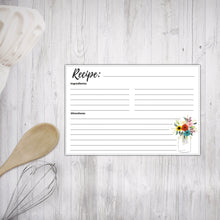 Load image into Gallery viewer, Printable Recipe Cards Floral Mason Jars Design 1